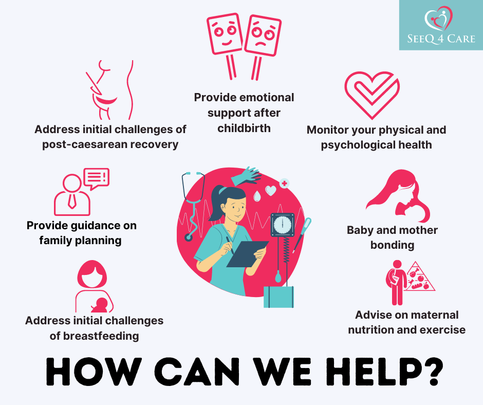 How can SeeQ 4 Care help newborns and parents with its postpartum programme